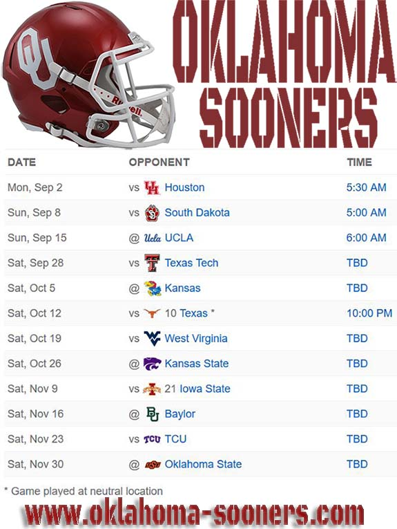 Oklahoma Sooners | Live Stream, TV schedule, Oklahoma Football, How to watch, College Football, Game, Today/Tonight, 2019